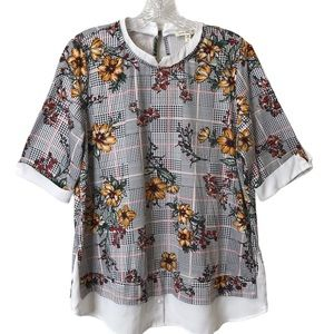 Faith And Joy By Monteau Houndstooth Floral Top